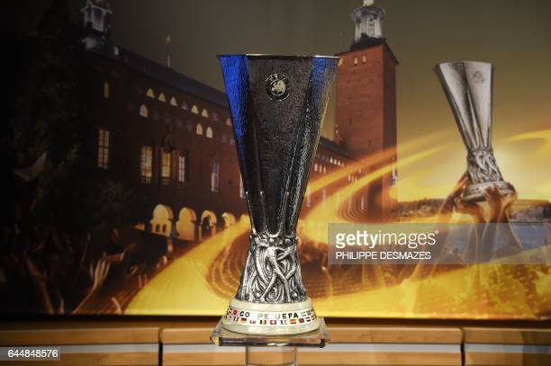 The UEFA Europa League trophy is displayed ahead of the draw for the round of 16 of the UEFA Europa League football tournament in Nyon on February 24...