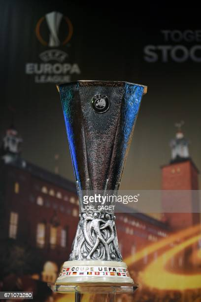 The UEFA Europa league trophy is displayed ahead of the draw for the football competition's semifinals on April 21 2017 in Nyon / AFP PHOTO / Richard...