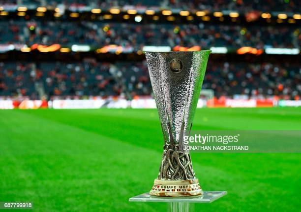 The UEFA Europa League trophy is displayed ahead the UEFA Europa League final football match Ajax Amsterdam v Manchester United on May 24 2017 at the...