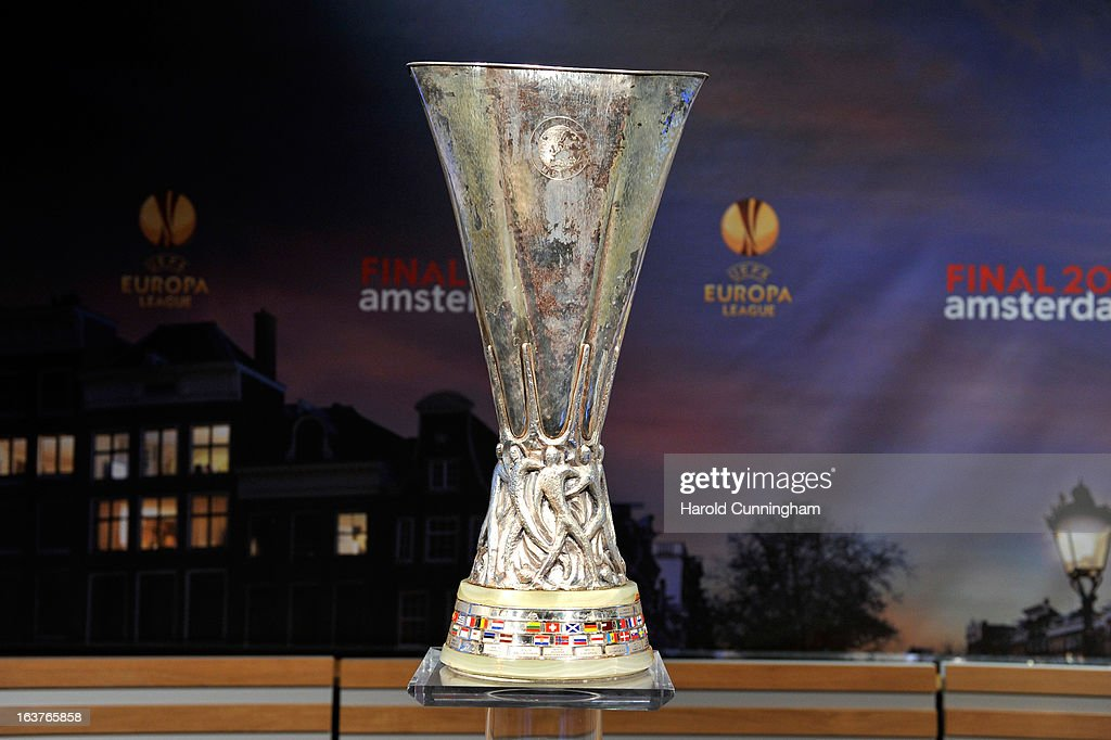 The UEFA Europa League trophy is displayed during the UEFA Europa League quarter finals draw at the UEFA headquarters on March 15, 2013 in Nyon, Switzerland.