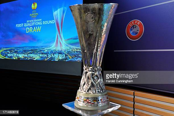 The UEFA Europa League trophy is displayed in the draw room ahead to the UEFA Europa League Q1 and Q2 qualifying rounds draw at the UEFA headquarters...