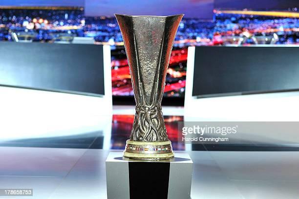 The UEFA Europa League trophy is displayed prior to the UEFA Europa League group stage 2013/14 draw on August 30 2013 in Monaco Monaco
