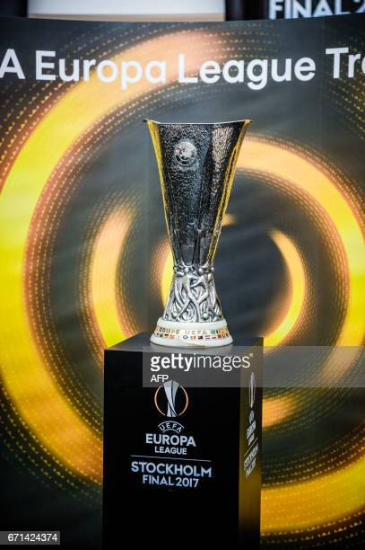 The UEFA Europa League trophy is on display at a mall in Stockholm on April 22 ahead of the Europa League final match that will be played at Friends...