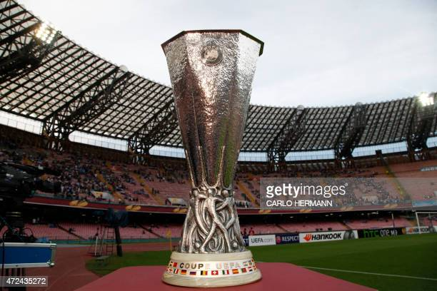 The UEFA Europa League trophy is pictured before the UEFA Europa League semi final first leg football match SSC Napoli vs FK Dnipro Dnipropetrovsk on...