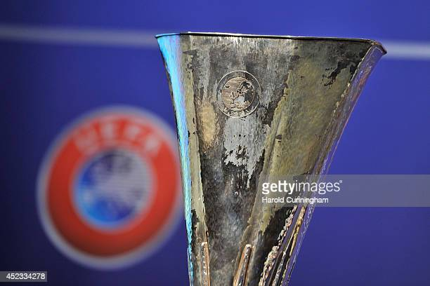 The UEFA Europa League trophy is prepared for the UEFA 2014/15 Europa League third qualifying rounds draw at the UEFA headquarters The House of...