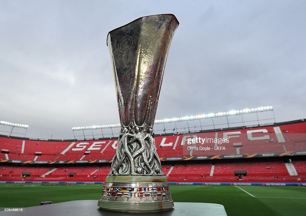 The UEFA Europa League trophy sits in the Sanchez Pizjuan stadium ahead of the UEFA Europa League Semi Final second leg match between Sevilla and Shakhtar Donetsk at the Sanchez Pizjuan stadium on May 5, 2016 in Seville, Spain.