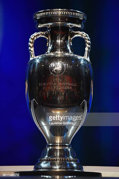 The UEFA European Championship trophy is displayed uring the UEFA Euro 2016 Final Draw Ceremony at Palais des Congres on December 12 2015 in Paris...