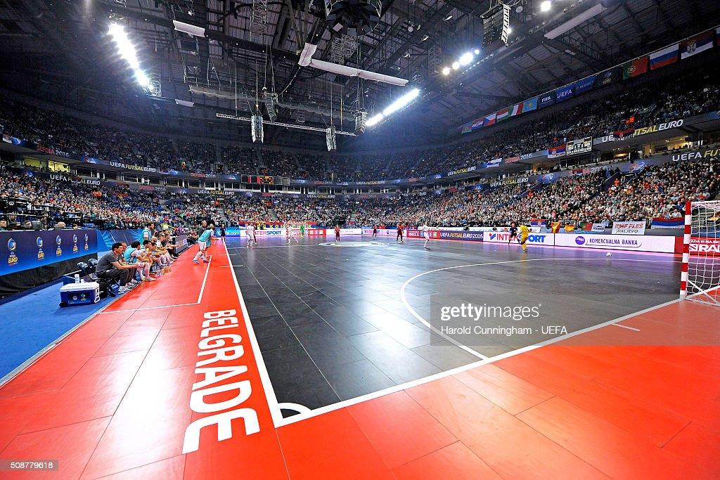 The UEFA Futsal EURO 2016 match between Portugal and Serbia at Arena Belgrade on February 6, 2016 in Belgrade, Serbia.