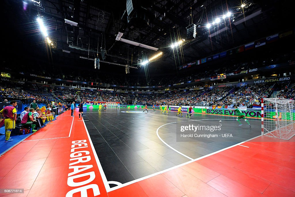 The UEFA Futsal EURO 2016 match between Ukraine and Spain at Arena Belgrade on February 6, 2016 in Belgrade, Serbia.
