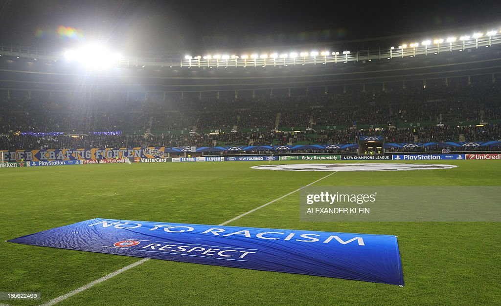 The UEFA 'No to Racism' banner, is seen prior to the UEFA Champions League Group G football match Austria Wien vs Atletico de Madrid in Vienna, Austria on October 22, 2013. AFP PHOTO / ALEXANDER KLEIN
