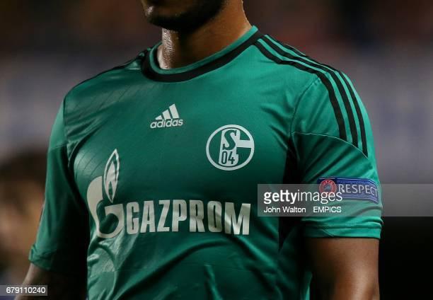 The UEFA Respect logo on the sleeve of a Schalke 04 player