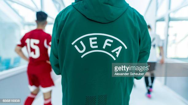 The UEFA signage is seen during the UEFA U17 elite round match between Germany and Armenia on March 23 2017 in Manavgat Turkey