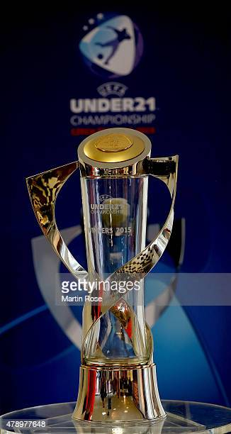 The UEFA Under21 trophy is pictured during a UEFA press conference ahead of the UEFA European Under21 final match against Portugal at Eden Stadium on...