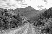 The Uitkyk Pass near Algeria in the Cederberg Mountains in the Western Cape of South Africa. Monochrome