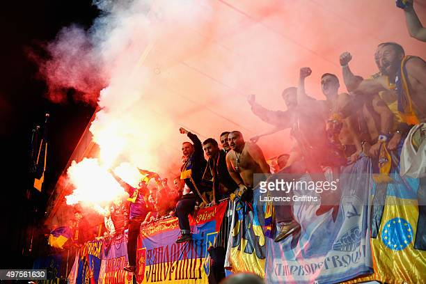 The Ukraine fans celebrate qualification after the UEFA EURO 2016 qualifier playoff second leg match between Slovenia and Ukraine at Ljudski Vrt...