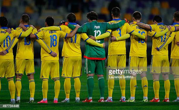 The Ukraine Team observe a minutes silence in memory of the Paris terrorist attacks prior to the UEFA EURO 2016 qualifier playoff second leg match...