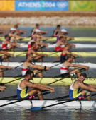 The Ukraine team prepare before the men's lightweight four event on August 22 2004 during the Athens 2004 Summer Olympic Games at the Schinias...