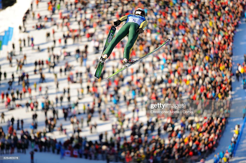 The Ukraine's Volodymyr Boshchuk during the qualification round for the long hill individual ski jumping at Whistler Olympic Park on day 8 of the...