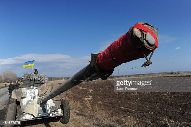 The Ukrainian Army withdraws 15 100 mm caliber artillery guns in Soledar eastern Ukraine on February 27 2015 In accordance with a February 12...