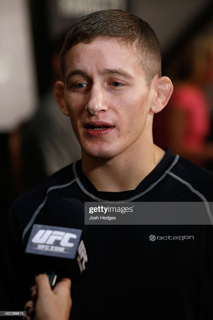 The Ultimate Fighter bantamweight finalist Chris Holdworth interacts with media during media day ahead of The Ultimate Fighter season 18 live finale inside the Mandalay Bay Events Center on November 27, 2013 in Las Vegas, Nevada.