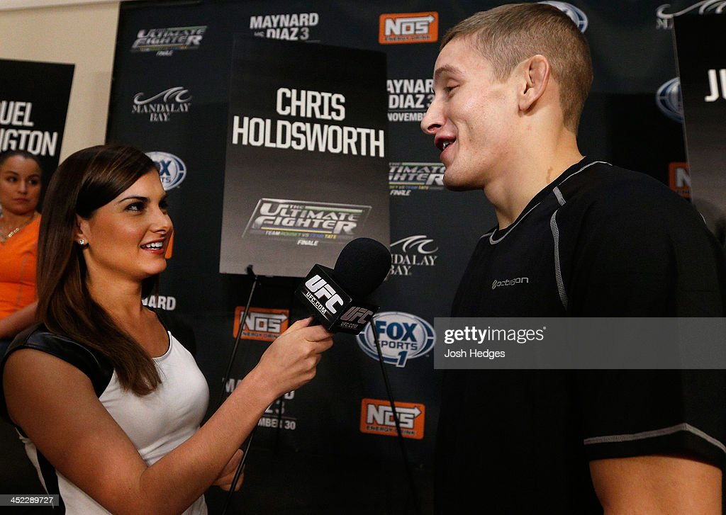 The Ultimate Fighter bantamweight finalist Chris Holdworth is interviewed during media day ahead of The Ultimate Fighter season 18 live finale inside the Mandalay Bay Events Center on November 27, 2013 in Las Vegas, Nevada.