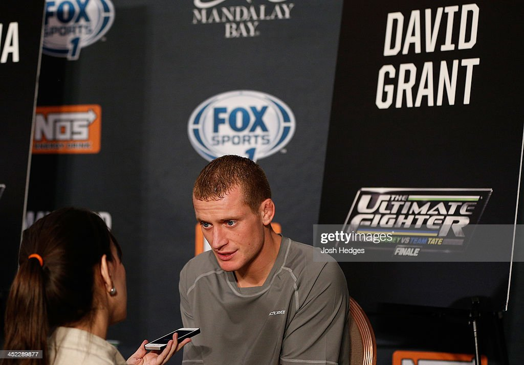 The Ultimate Fighter bantamweight finalist David Grant is interviewed during media day ahead of The Ultimate Fighter season 18 live finale inside the Mandalay Bay Events Center on November 27, 2013 in Las Vegas, Nevada.