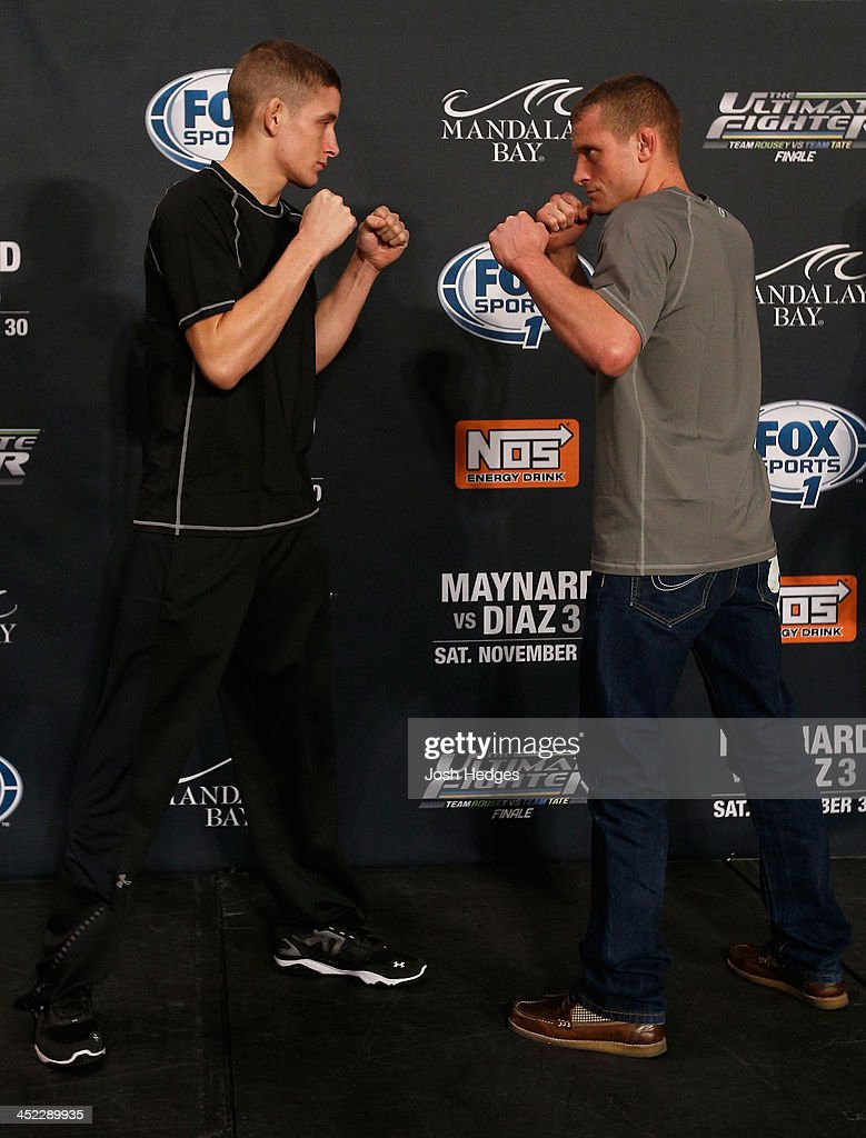 The Ultimate Fighter bantamweight finalists Chris Holdsworth and David Grant face off during media day ahead of The Ultimate Fighter season 18 live finale inside the Mandalay Bay Events Center on November 27, 2013 in Las Vegas, Nevada.