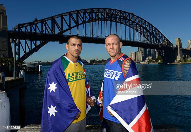 The Ultimate Fighter coaches George Sotiropoulos and Ross Pearson pose for a photo in front of the Sydney Harbour Bridge on July 17 2012 in Sydney...