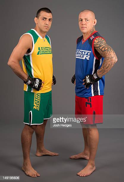 The Ultimate Fighter coaches George Sotiropoulos and Ross Pearson pose for a photo during a portrait session on July 15 2012 in Sydney Australia