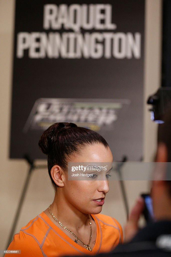 The Ultimate Fighter women's bantamweight contender Raquel Pennington interacts with media during media day ahead of The Ultimate Fighter season 18 live finale inside the Mandalay Bay Events Center on November 27, 2013 in Las Vegas, Nevada.