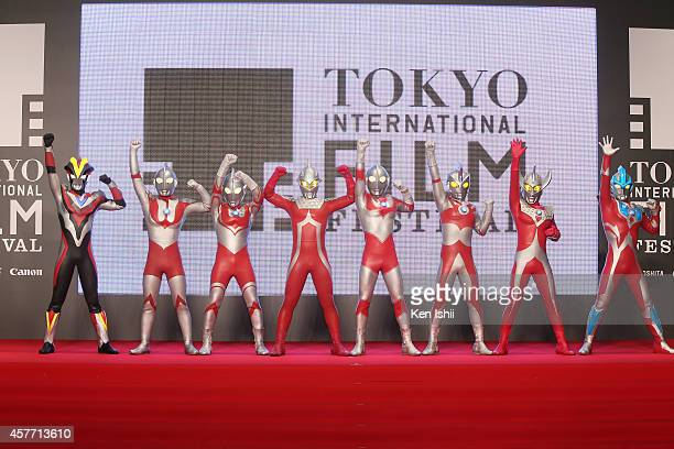 The Ultraman characters pose for 'Ultra Seven The HD' photocall during the opening ceremony during the 27th Tokyo International Film Festival at...