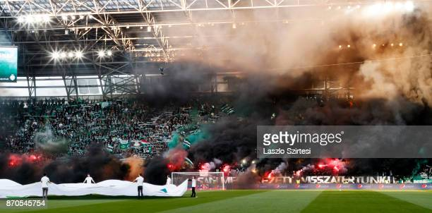 The ultras light fire during the Hungarian OTP Bank Liga match between Ferencvarosi TC and DVSC at Groupama Arena on November 4 2017 in Budapest...