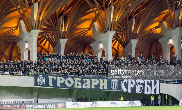 The ultras of FK Partizan wait for the kickoff prior to the UEFA Europa League Playoffs 2nd Leg match between Videoton FC and FK Partizan at Pancho...