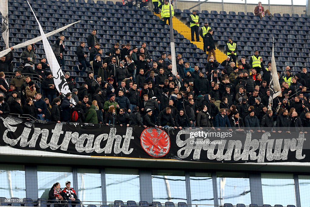 The Ultras of Frankfurt have been banned to the other side of the stadium during the Bundesliga match between Eintracht Frankfurt and VfB Stuttgart at Commerzbank-Arena on February 6, 2016 in Frankfurt am Main, Germany.