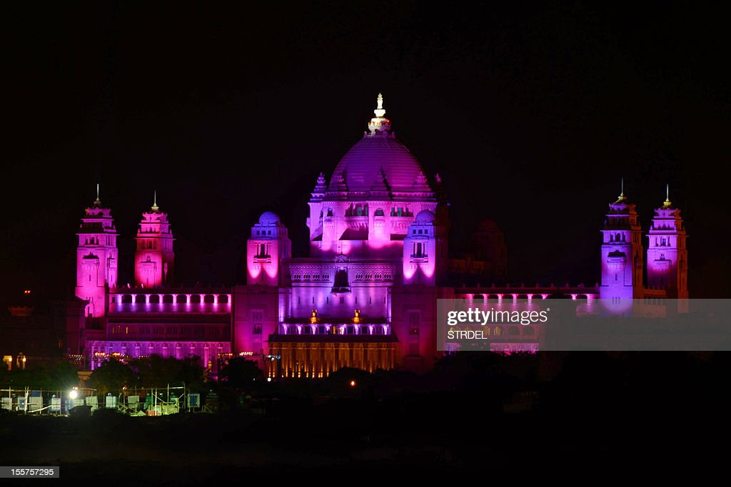 The Umaid Bhawan palace hotel, venue of a birthday party arranged by supermodel Naomi Campbell for her Russian boyfriend Vladimir Doronin, is seen with coloured lights early November 8, 2012 as the party that began earlier in the evening November 7 continues. A star-studded guestlist including Kate Moss and Bob Geldof gathered in India Wednesday for a lavish 50th birthday party arranged by supermodel Naomi Campbell for her Russian billionaire boyfriend.