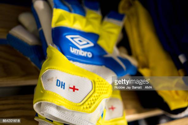 The Umbro goalkeeping gloves of Dean Henderson of Shrewsbury Town prior to the Sky Bet League One match between Doncaster Rovers and Shrewsbury Town...