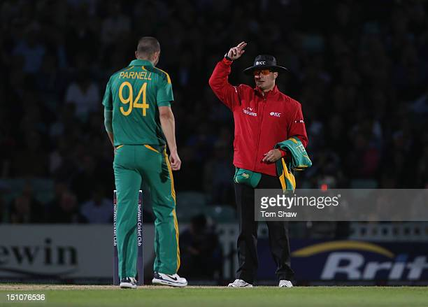The Umpire signals a free hit during the 3rd NatWest ODI between England and South Africa at The Kia Oval on August 31 2012 in London England