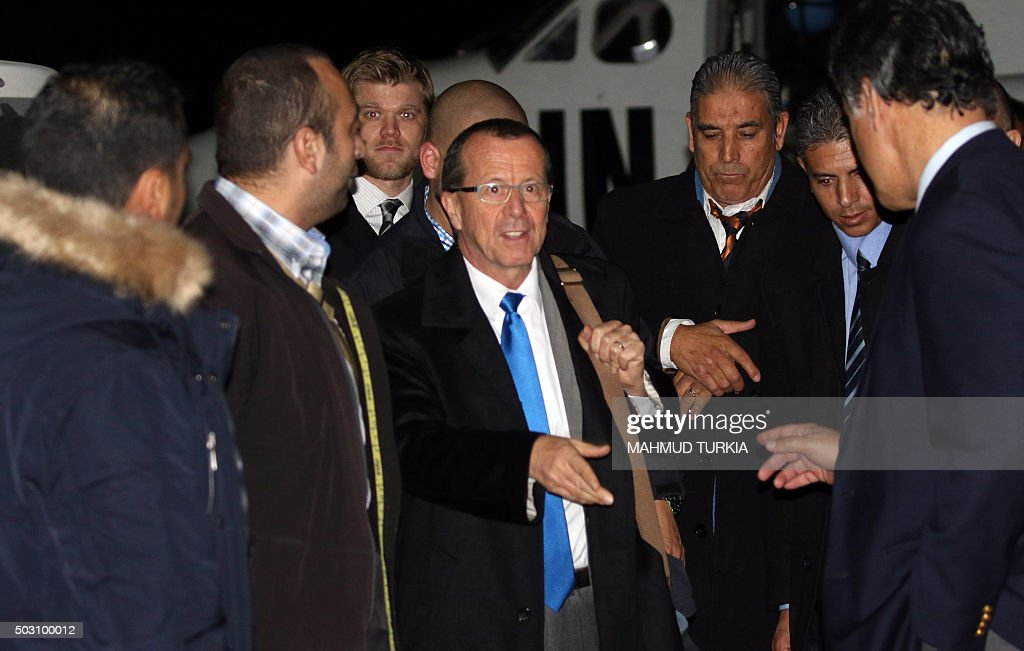 The UN envoy for Libya Martin Kobler arrives for a press conference following a meeting with the members of Libya's General National Congress on...