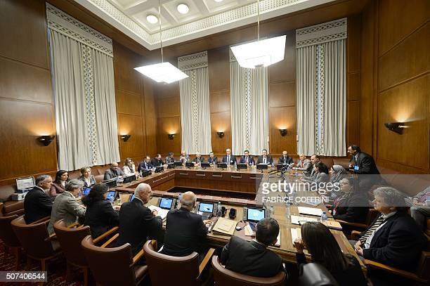 The UN envoy for Syria Staffan de Mistura mets representatives of Syrian President Bashar alAssad's regime in Geneva on January 29 at the start of a...
