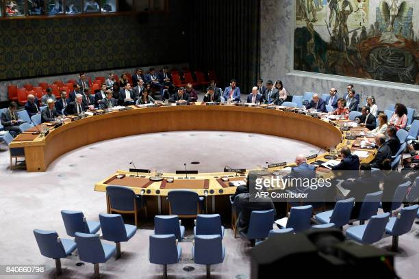 The UN Security Council holds a emergency meeting over North Korea's latest missile launch on August 29 2017 at UN Headquarters in New York The UN...