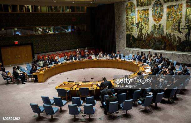 The UN Security Council holds an emergency meeting at United Nations headquarters regarding the situation on the Korean peninsula July 5 2017 in New...