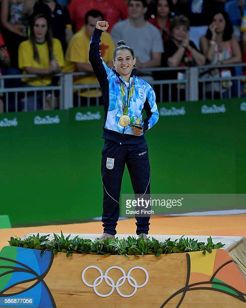 The under 48kg women gold medalist Paula Pareto of Argentina during the medal ceremony on day 1 of the 2016 Rio Olympic Judo on Saturday August 06 at...