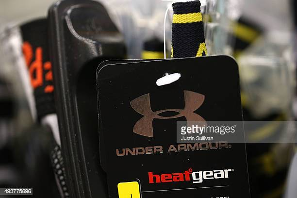 The Under Armour logo is displayed on a clothing hang tag at T B Sports on October 22 2015 in San Rafael California Under Armour Inc reported a 28...