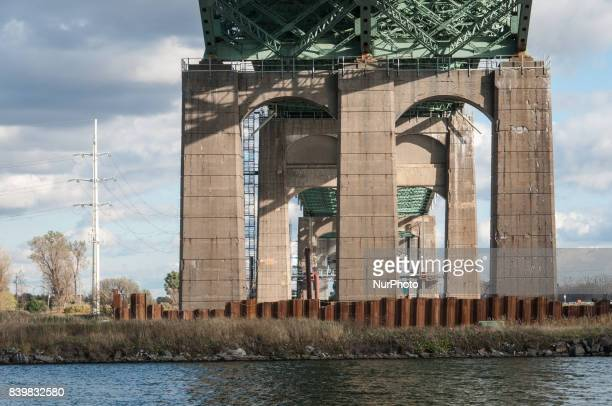The under side of the Jacques Cartier Bridge in Montreal Quebec one of the busiest bridges in Canada on 20 October 2013