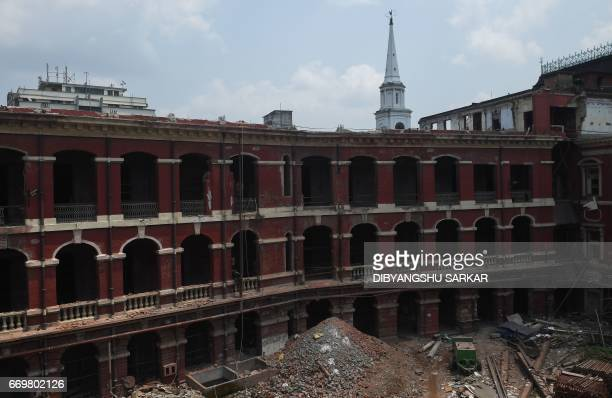 The underrenovation historic Writers' Building in Kolkata is pictured on World Heritage Day on April 18 2017 The redbrick complex dates back to 1776...
