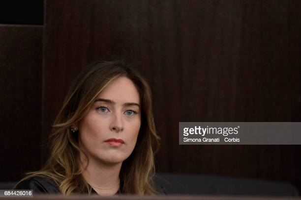 The Undersecretary of State to the Presidency of the Council Maria Elena Boschi at the Presentation of the Football Program ' Il Calcio Aiuta' on May...