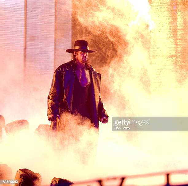 The Undertaker makes his way to the ring for his match with Shawn Michaels at 'WrestleMania 25' at the Reliant Stadium on April 5 2009 in Houston...