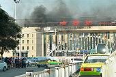 The unfinished Kumul Railway Station gets burnt by fire on August 21 2014 in Kumul Xinjiang Uyghur Autonomous Region of China The fire has been put...