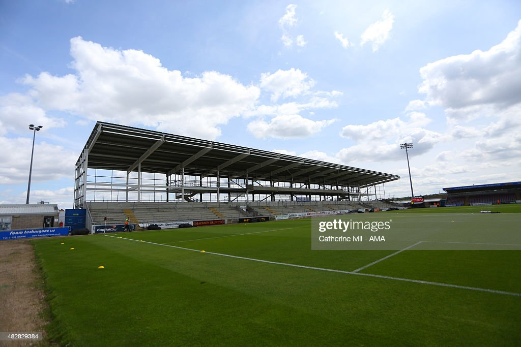 The unfinished stand at Sixfields stadium, home of Northampton Town before the pre-season friendly between Northampton Town and Derby County at Sixfields on July 18, 2015 in Northampton, England.