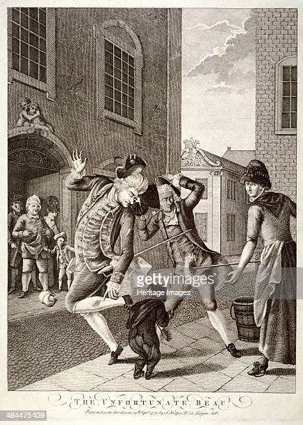 'The Unfortunate Beau' 1772 a maid takes out her mop to the great distress of a passing beau whose clothes are splattered
